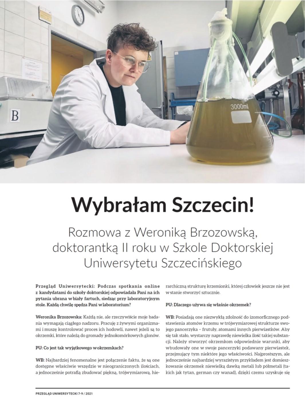 Przegląd Uniwersytecki #7-8/2021  Rozmowa z Weroniką Brzozowską, doktorantką II roku z Szkole Doktorskiej Uniwersytetu Szczecińskiego