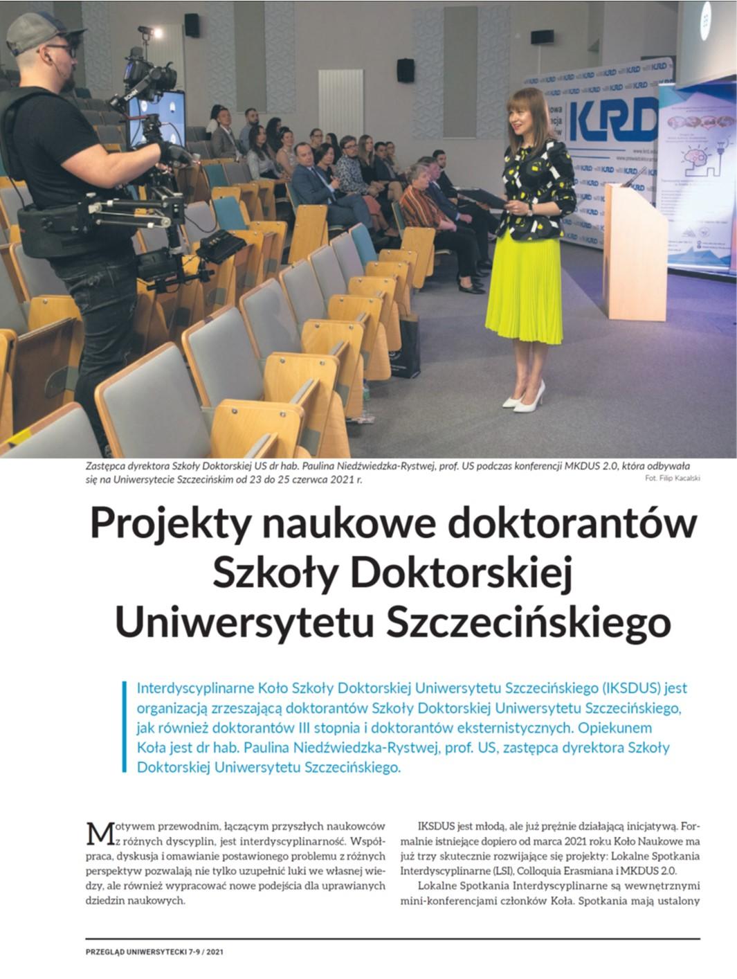 Przegląd Uniwersytecki #7-8/2021  Projekty naukowe doktorantów Szkoły Doktorskiej Uniwersytetu Szczecińskiego